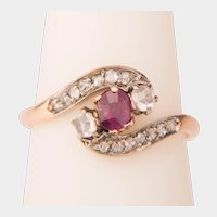 Art Nouveau ring Garnet rose cut Diamonds circa 1890-1900