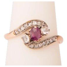Art Nouveau ring Garnet rose cut Diamonds circa 1890-1900