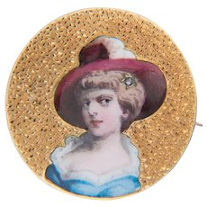 Victorian Enamel painted portrait brooch 18 k yellow gold circa 1880