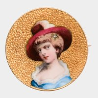 Antique painted enamel woman's portrait brooch 18 k yellow gold circa 1880