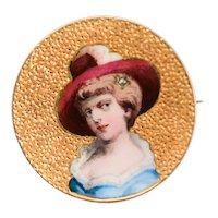 Antique painted enamel woman's portrait brooch 18 k yellow gold circa 1880