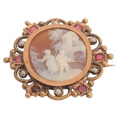 Antique carved shell cameo brooch gold 14 karat frame circa 1880