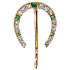 Antique Emerald diamonds horseshoe stick pin circa 1890-1900