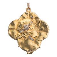 Art Nouveau  lucky four clover leaves locket/pendant diamonds gold 18 k circa 1895