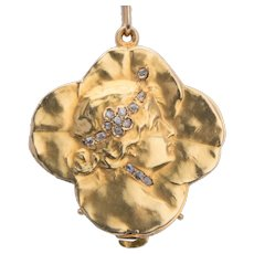 Art Nouveau  lucky four clover leaves locket/pendant diamonds gold 18 k circa 1895