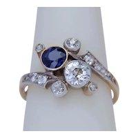 Antique Art Nouveau diamond and sapphire ring circa 1890
