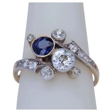 Antique Art Nouveau diamond and sapphire ring circa 1890