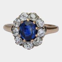 Non-heated Ceylon sapphire and diamonds cluster ring circa 1890 s