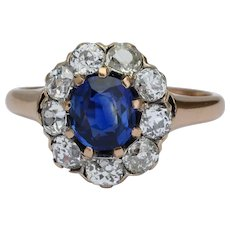 Non-heated Ceylon sapphire and diamonds cluster ring circa 1890 s