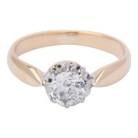 Victorian 0.45 carat diamond solitaire engagement ring 18 k yellow gold circa 1890