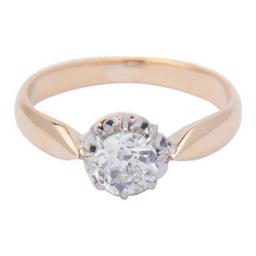Victorian 0.45 carat diamond solitaire engagement ring 18 k yellow gold circa 1890