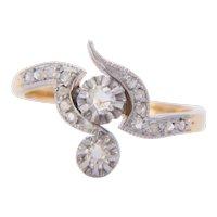 Art Nouveau diamond ring 18 k yellow gold and platinum circa 1900 s