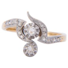 Art Nouveau diamond ring 18 k yellow gold and platinum circa 1900 s