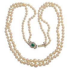 Elegant Akoya pearls Emerald Diamond Clasp circa 1935