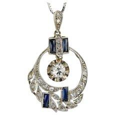 Art Deco Diamonds lab made Sapphires pendant 18 k white gold platinum 950 circa 1920