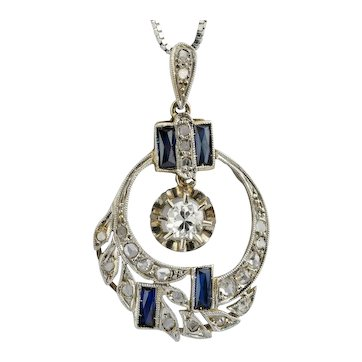 Art Deco Diamonds lab made Sapphires pendant 18 k white gold platinum circa 1920