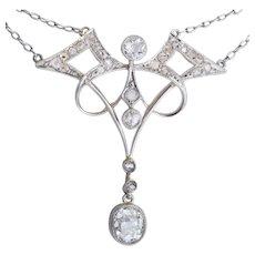 Splendid Art Nouveau diamond necklace platinum 950 circa 1900