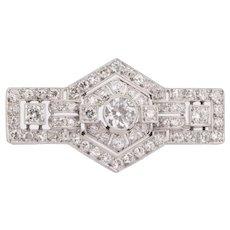 Elegant  3.10 cwt diamond brooch platinum 950 Early Art Deco  circa 1915 s