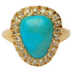 Antique Turquoise diamond ring circa 1880