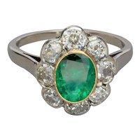 Antique Russian Emerald Old Cut Diamonds ring circa 1920