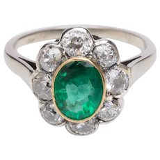 Russian 1 carat Emerald 1.20 carat old cut diamonds ring circa 1920