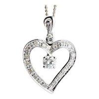 Heart shape pendant 0.45 cwt Diamond with chain 18 karat white gold circa 1960 s