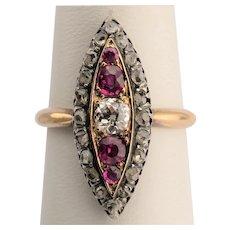 Victorian Pink Sapphire Diamond  ring circa 1880