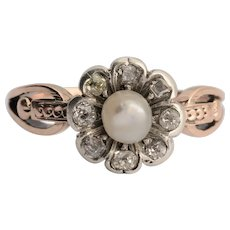Georgian diamond pearl daisy ring circa 1810