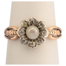 Antique Georgian sweet romantic daisy ring diamonds pearl 18 k yellow gold circa 1810