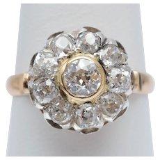 Antique 2.12 cwt old European cut diamonds ring 18 k yellow gold Platinum top circa 1910