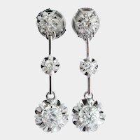 Antique 1.30cwt diamond long drop earrings 18 k white gold 1920