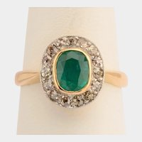 Victorian Colombian Emerald natural brownish Diamonds ring circa 1890