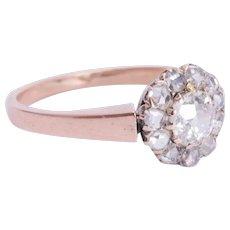 Antique Victorian diamond cluster ring 18 k pinkish gold circa 1890