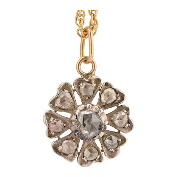 Antique Georgian diamond pendant silver 18 k yellow gold circa 1820