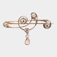 Antique Art Nouveau rose cut diamonds brooch circa 1900-1910