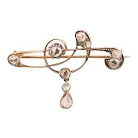 Antique Art Nouveau rose cut diamonds brooch circa 1900-1910