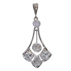 Belle Epoque 1.03 cwt Diamonds Platinum Pendant circa 1910