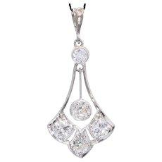 Antique Belle Epoque 1.03 cwt Diamonds Platinum Pendant circa 1910