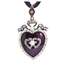 Victorian Enamel Diamond Pearls entwined heart pendant /brooch / locket circa 1880