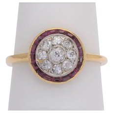 Victorian  diamonds rubies target ring 18 k yellow gold platinum circa 1900