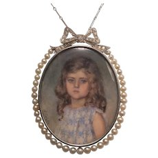 Edwardian miniature portrait pendant diamonds pearls circa 1910