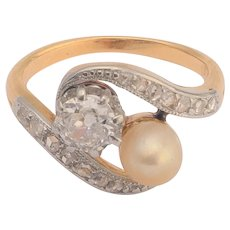 Tiny size US 2 3/4 Antique Art Nouveau Diamond Pearl You and Me ring circa 1890-1900