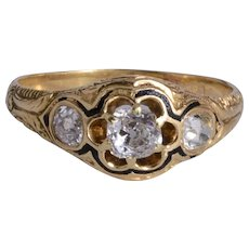 Antique Unisex  ring 0.90 cwt old mine cut diamonds yellow gold circa 1870