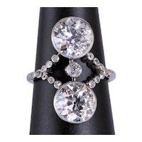 Antique 4.30cwt diamonds ring Platinum 900 circa 1910