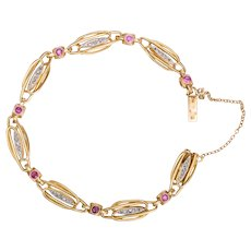French Art Nouveau Bracelet Diamonds Rubies 18 karat yellow gold circa 1900