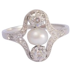 Antique Edwardian Diamond Pearl Platinum ring circa 1910