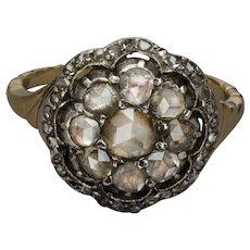 Georgian Rose Cut Diamonds ring gold 14 karat silver circa 1810-20