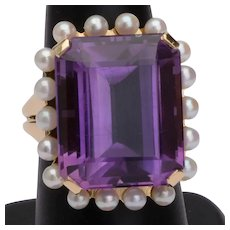 Impressive 21 karat Amethyst cocktail ring 18 karat yellow gold circa 1960