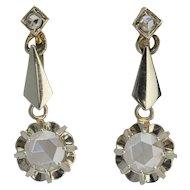 Rose cut diamonds drop earrings 18 k gold