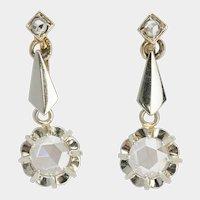 Antique Rose cut Diamonds drop earrings 18 k gold